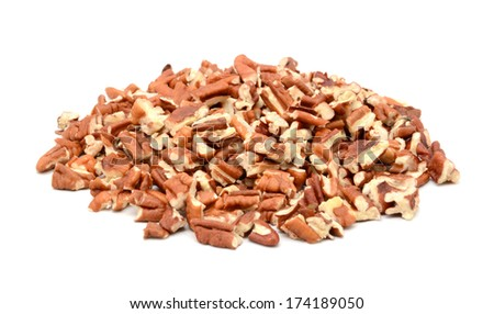 Chopped pecan nuts, isolated on a white background - stock photo