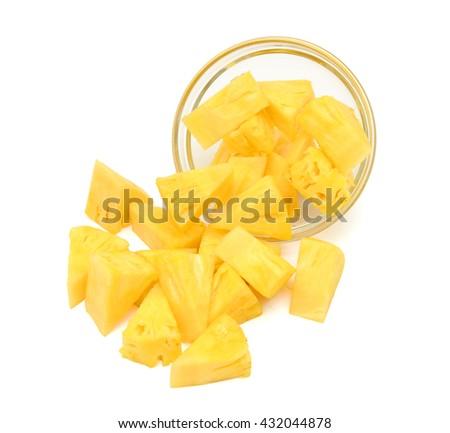 chopped pineapple fruit isolated on white background - stock photo