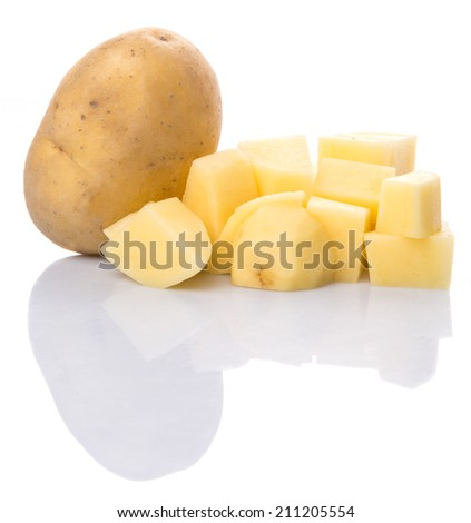 Chopped potato over white background