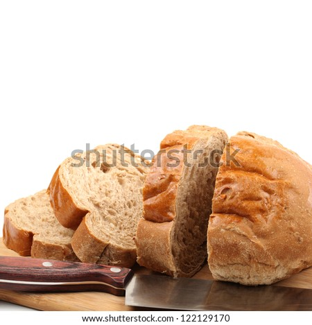 chopped rye bread on white background