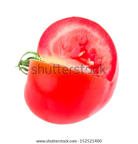 chopped tomato isolated on white background