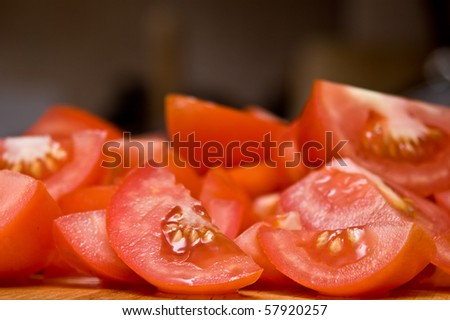 Chopped tomatoes - stock photo