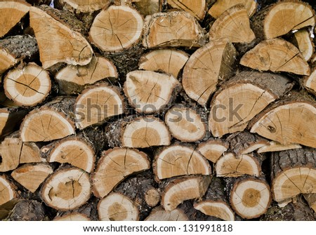 chopped up hard wood stored on levels