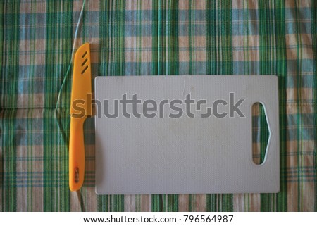 Chopping board on the table