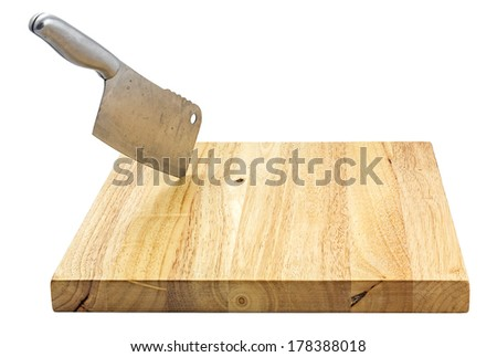 chopping bord with knife isolated on white