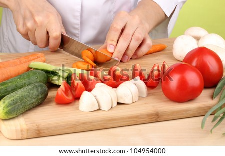 Chopping food ingredients - stock photo