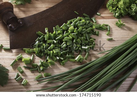 chopping knife with leek