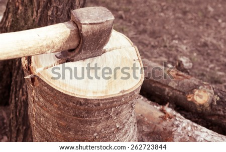 Chopping of firewood background