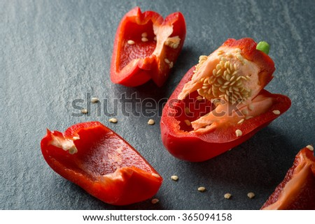 Chopping red Pepper - stock photo