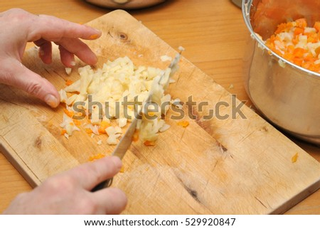Chopping vegetables for the salad