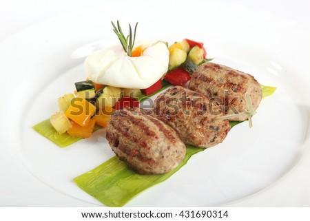 chops onions shallots to garnish on plate - stock photo