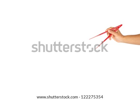 Chopstick and hand