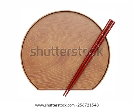 Chopsticks and plate isolated on a white background  - stock photo