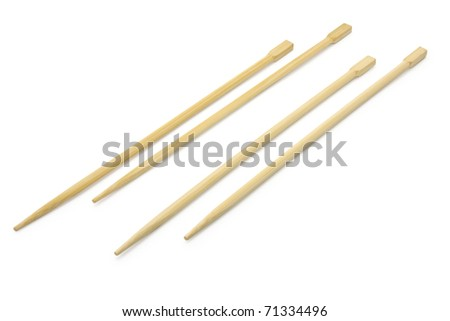 chopsticks in white background - stock photo