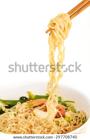 chopsticks noodles isolated on white background with clipping path.