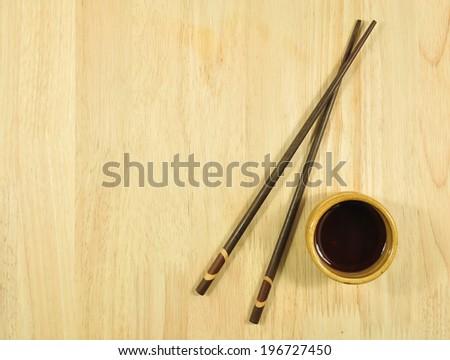 chopsticks on restaurant table. - stock photo