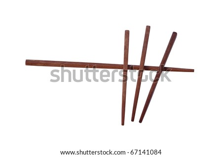 Chopsticks to eat lying on a white background