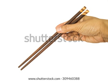 chopsticks with hand on white background
