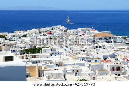 Chora Mykonos on the background of the sea