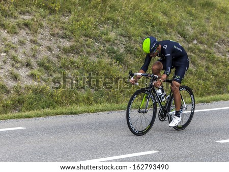 CHORGES, FRANCE- JUL 17:The Costa Rican  cyclist Andrey Amador from Movistar Team pedaling during the stage 17 of Le Tour de France 2013, a time trial between Embrun and Chorges on July 17 2013