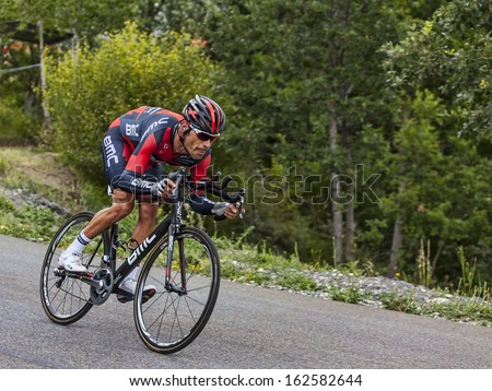 CHORGES, FRANCE- JUL 17:The Italian cyclist Manuel Quinziato from BMC Racing Team pedaling during the stage 17 of Le Tour de France 2013, a time trial between Embrun and Chorges on July 17 2013