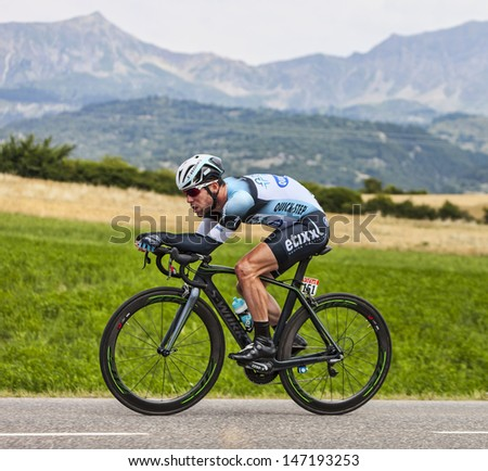 CHORGES, FRANCE- JUL 17:The Manx cyclist Mark Cavendish pedaling  during the stage 17 of 100th edition of Le Tour de France, a time trial between Embrun and Chorges  on July 17 2013
