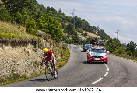 CHORGES, FRANCE- JUL 17:The Spanish cyclist Luis Angel Mate Mardones from Cofidis Team pedaling during the stage 17 of Le Tour de France 2013, a time trial between Embrun and Chorges on July 17 2013