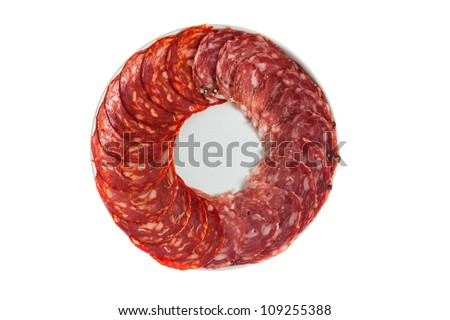 Chorizo, salchichon, salami sausage on a plate isolated over white background - stock photo