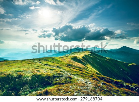 Chorna hora mountain range.  Carpathian mountains. Ukraine - stock photo