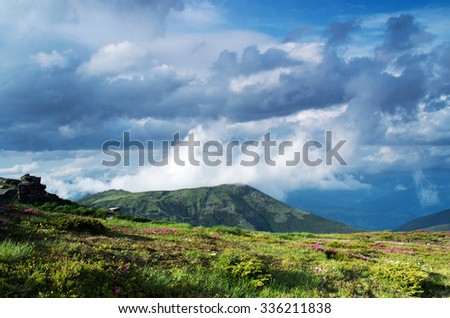 Chornogora ridge of Carpathian mountain, Ukraine. - stock photo