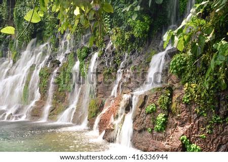 Chorros de la Calera waterfalls in a small town of Juayua, Ruta de las Flores itinerary,  El salvador - stock photo