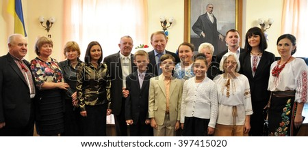 "Chortkiv - Ternopil - Ukraine- 10 October 2014. Former President of Ukraine Leonid Kuchma, the head of ""Ukraine"" a local children's music school gave piano."