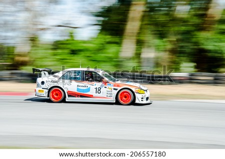 CHOUN BURI - JULY 5: Kantachee K. with Toyota altezza on display at the Thailand Super Series 2014 Race 3 on July 5, 2014 at  the Bira International Circuit Pattaya, Chon Buri Thailand.
