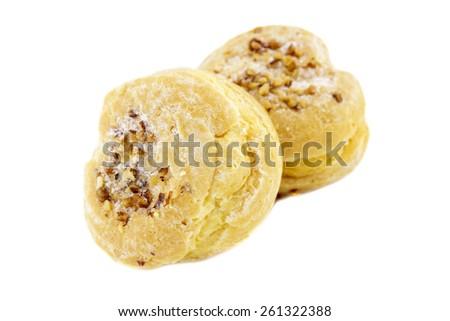 Choux cream bakery of France isolated on white background. - stock photo