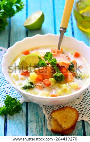 Chowder with trout and vegetable. - stock photo