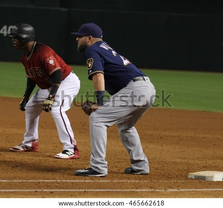 Chris Carter first baseman for the Brewers at Chase Field in Phoenix,AZ USA August,7,2016.