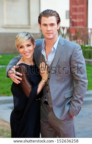 "Chris Hemsworth and Elsa Pataky arriving for the ""Rush"" World premiere at the Odeon Leicester Square, London. 02/09/2013 - stock photo"