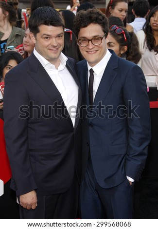 """Chris Miller and Phil Lord at the Los Angeles premiere of """"22 Jump Street"""" held at the Regency Village Theatre in Los Angeles, United States, 100614.  - stock photo"""