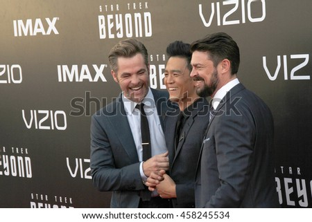 Chris Pine, John Cho and Karl Urban attend at the Star TreK Beyond  premiere during Comic Con on July 20, 2016 at the Embarcadero Marina Park South in San Diego, CA.