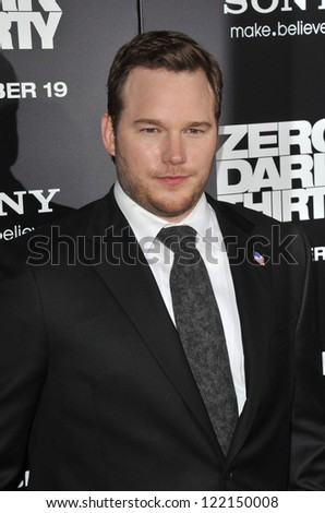 "Chris Pratt at the premiere of his movie ""Zero Dark Thirty"" at the Dolby Theatre, Hollywood. December 10, 2012  Los Angeles, CA Picture: Paul Smith - stock photo"