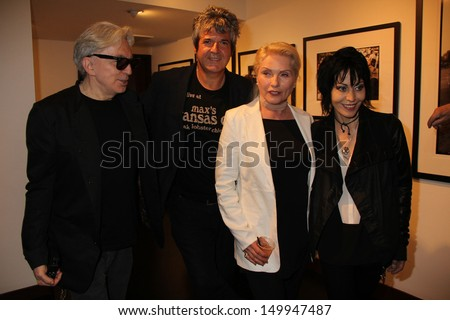 "Chris Stein, Clem Burke, Deborah Harry and Joan Jett at the ""Hell In The City Of Angels: Chris Stein"" Photo Exhibition Opening, Morrison Hotel Gallery, West Hollywood, CA 08-09-13"