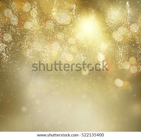 chrismas dark golden and silver background with bright sparkles and christmas lights