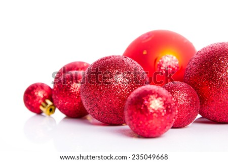 Chrismas red decoration on  white background - stock photo