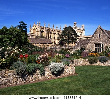 Christ Church Cathedral, College and memorial gardens, Oxford, Oxfordshire, England, United Kingdom, Western Europe. - stock photo
