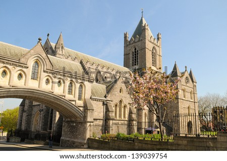 Christ Church Cathedral in Dublin, Ireland in spring - stock photo