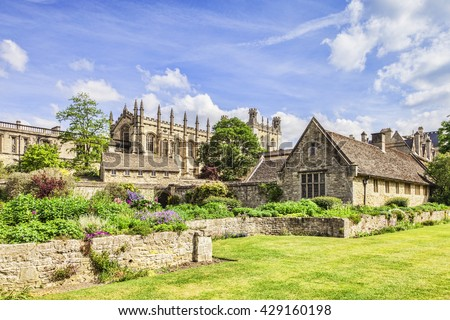 Christ Church Cathedral, Oxford, seen in spring from the War Memorial Garden. It is a college of Oxford University as well as being the cathedral church of the Oxford diocese.Oxfordshire, England, UK - stock photo