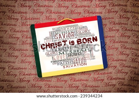 Christ is born Religious Words on white board - stock photo