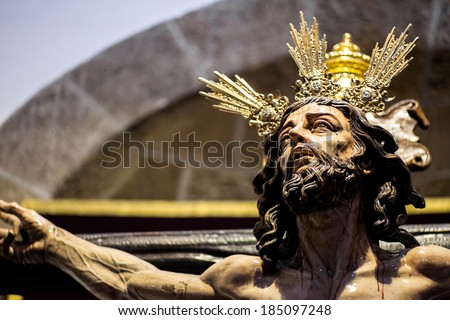Christ of the forgiveness in the parish church of Santa Cruz, Cadiz, Spain - stock photo