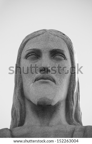 Christ the Redeemer in Rio de Janeiro in black and white - stock photo