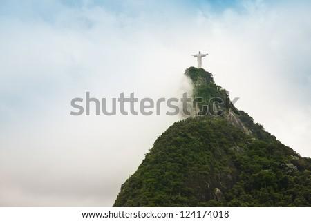 Christ the redimer in Rio de Janeiro Brazil - stock photo